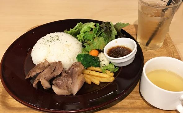 おふろcafe ランチセット(ポークステーキ)